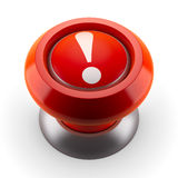 Bouton rouge d'exclamation Images stock