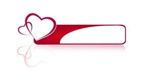 Bouton rouge d'objet avec des coeurs Photos libres de droits
