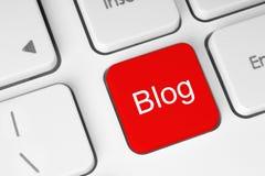 Bouton rouge de blog Photos libres de droits