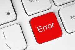 Bouton rouge de clavier d'erreurs Image libre de droits