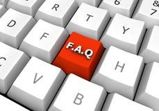 Bouton rouge de clavier de PC de FAQ Photos stock
