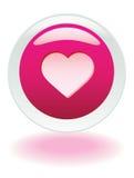 Bouton rouge de coeur Photographie stock libre de droits