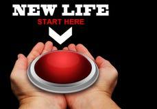 Bouton rouge de la nouvelle vie Photo stock