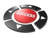 Bouton rouge de réussite avec les flèches principales de clé de sens Photo stock