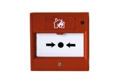 Bouton rouge fixé au mur d'alarme d'incendie Images stock