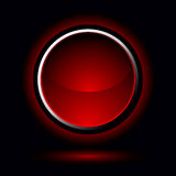 Bouton rouge lumineux Photo stock