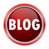 Bouton rouge métallique rond de blog Photos libres de droits