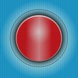 Bouton rouge sur le fond abstrait bleu-foncé Photos stock