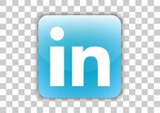 Bouton social d'icône de media de Linkedin avec le symbole à l'intérieur illustration libre de droits