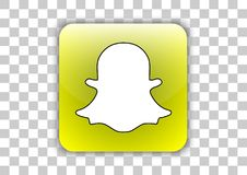 Bouton social d'icône de media de Snapchat avec le symbole à l'intérieur illustration libre de droits