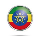 Bouton éthiopien de drapeau de vecteur Drapeau de l'Ethiopie dans le styl en verre de bouton Image stock