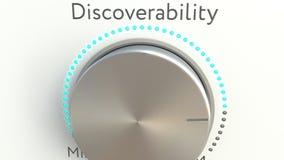 Bouton tournant avec l'inscription de discoverability Rendu 3d conceptuel Images stock