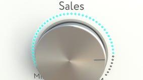 Bouton tournant avec l'inscription de ventes Rendu 3d conceptuel Images stock
