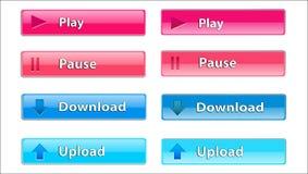 Bouton transparent rectangulaire à le télécharger et jouer images libres de droits