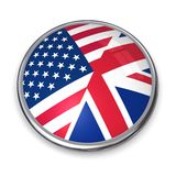Bouton US/UK de drapeau Photographie stock