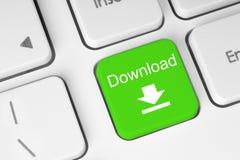 Bouton vert de clavier de téléchargement Photographie stock libre de droits