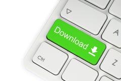 Bouton vert de clavier de téléchargement Images libres de droits