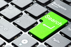 Bouton vert de recherche Images stock