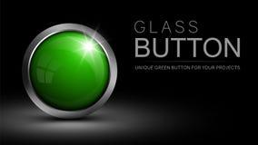 Bouton vert en verre pour la conception web et d'autres projets illustration libre de droits