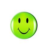 Bouton vert heureux de visage de sourire Image stock