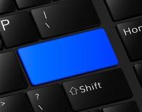 Bouton vide sur le cadre bleu vide de bouton de clavier Photographie stock