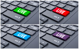 Bouton vivant sur le clavier d'ordinateur Photo stock