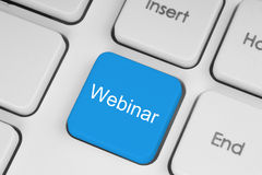 Bouton webinar bleu Photo stock