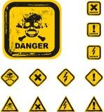 boutonne le vecteur de grunge de danger illustration stock