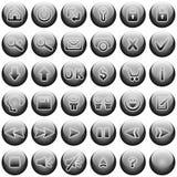 boutonne le Web réglé de gris Photographie stock libre de droits