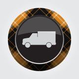 Boutonnez avec le tartan orange et noir - icône de van car Images stock