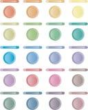 Boutonnez, ensemble de boutons légers de rouge, bleus, vert. Photos libres de droits