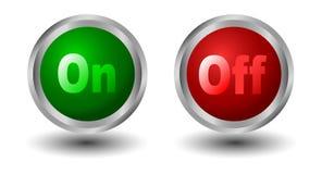 boutonnez le pouvoir vert de graphismes rouge Images libres de droits