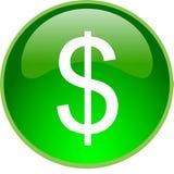 boutonnez le vert du dollar Image stock
