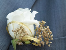 Boutonniere. Beige rose wedding boutonniere on suit of groom stock images