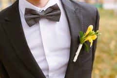 Boutonniere auf dem Revers des Bräutigams Lizenzfreies Stockbild