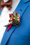 Boutonniere. The bridegroom corrects wedding boutonniere royalty free stock image