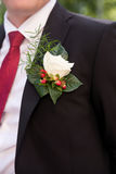 Boutonniere, buttonhole on suit. Groom in wedding day Stock Images