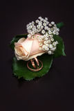 Boutonniere closeup on a dark background Royalty Free Stock Images