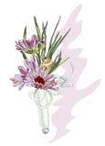 Boutonniere con un crisantemo y un shell rosados. Imagen de archivo