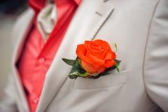 boutonniere czerwień wzrastał zdjęcie royalty free