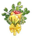 Boutonniere de la acuarela con la rosa amarillo-roja, waxflower, ramitas o Foto de archivo