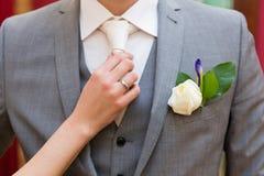 Boutonniere do casamento Fotos de Stock Royalty Free