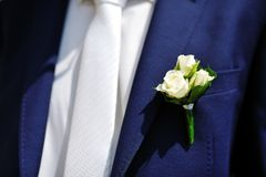 Boutonniere flower on jacket of wedding groom Royalty Free Stock Images