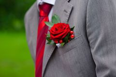 Boutonniere on grey suit Royalty Free Stock Photography