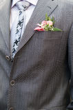 Boutonniere groom. In wedding suit pocket Stock Photography