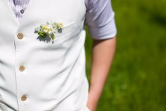 Boutonniere for the groom dress Royalty Free Stock Photo