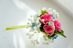 Boutonniere for the groom Flower bouquet. Close-up stock image