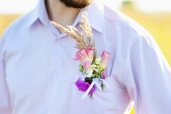 Boutonniere groom. Made of wild flowers royalty free stock images
