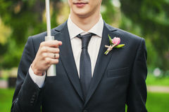Boutonniere on his jacket Stock Image