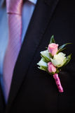 Boutonniere on the lapel of the groom Stock Photos